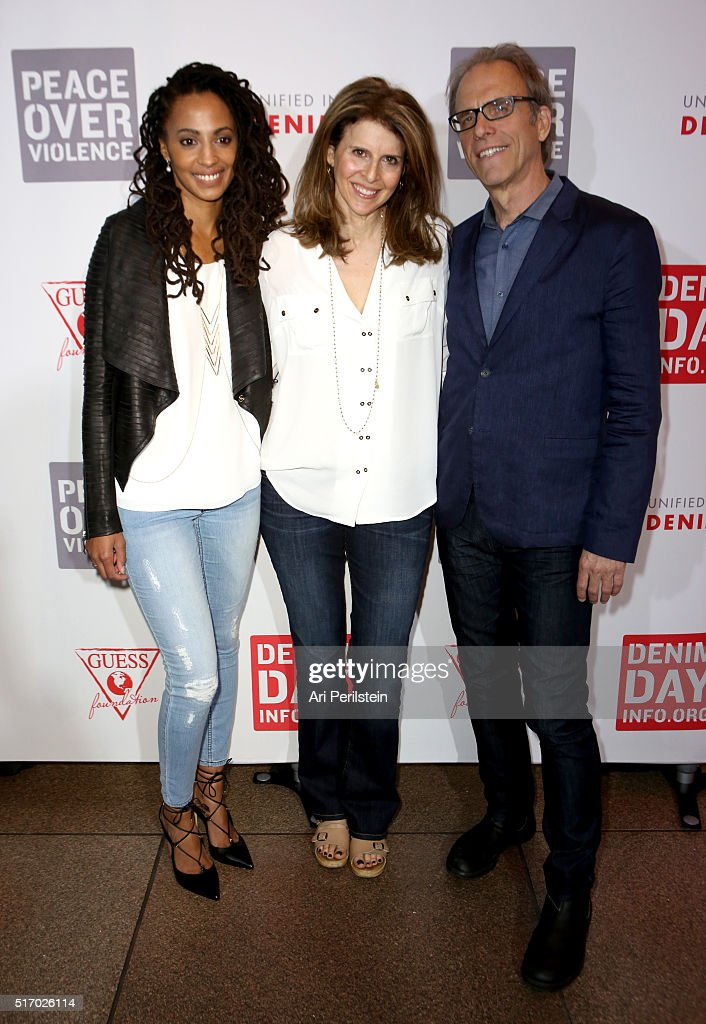 Activist Kamilah Willingham Producer Amy Ziering and Director Kirby Dick attend the GUESS Foundation and Peace Over Violence Denim Day Cocktail Event...