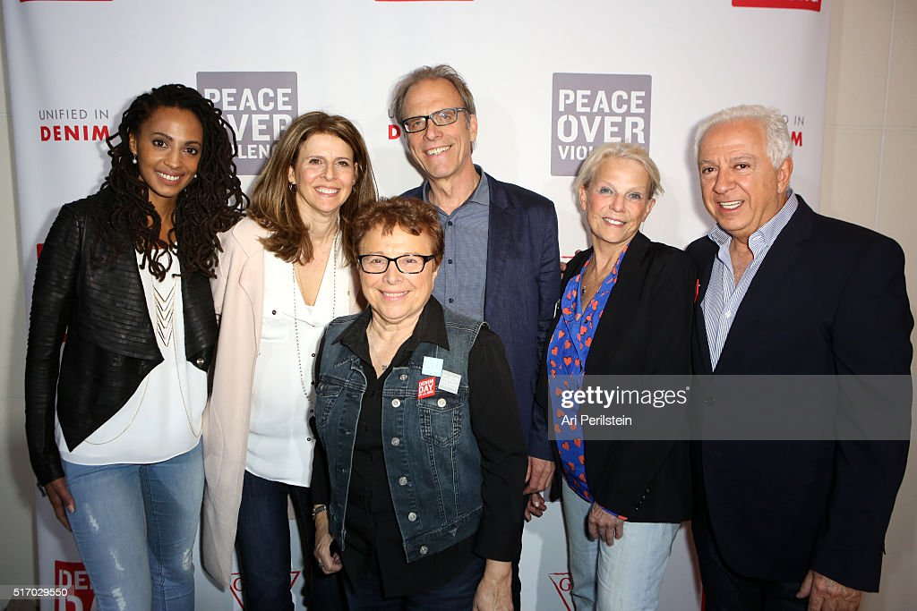 Activist Kamilah Willingham, Producer Amy Ziering Denin Day Founder Patricia Giggins, Director Kirby Dick, Dr. Astrid Heger and GUESS Foundation president Paul Marciano attend the GUESS Foundation and Peace Over Violence Denim Day Cocktail Event at at MOCA Grand Avenue on March 22, 2016 in Los Angeles, California.