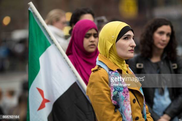 Activist Linda Sarsour looks on during a 'Women For Syria' gathering at Union Square April 13 2017 in New York City The group gathered to support and...