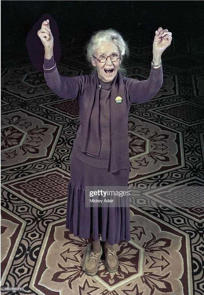 Activist Maggie Kuhn poses in 1981 in Washington, DC.