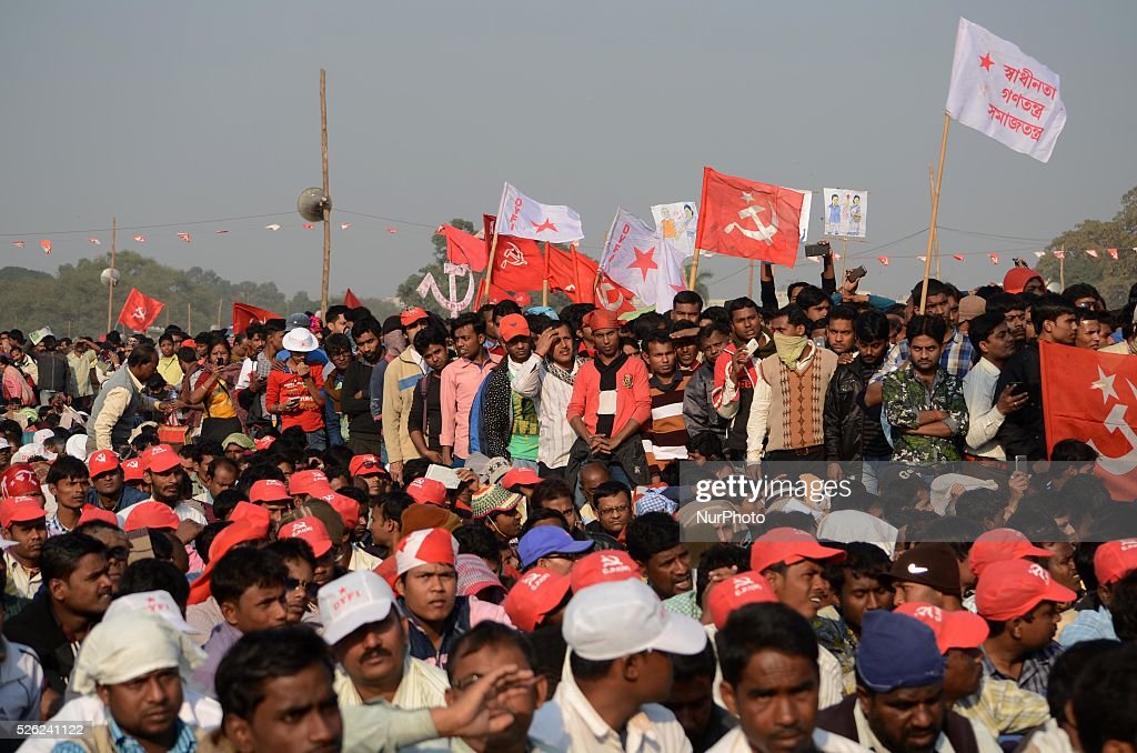 Activist of Communist Party of India participating in a rally before the start of party plenum in Kolkata India on Sunday 27th December 2015