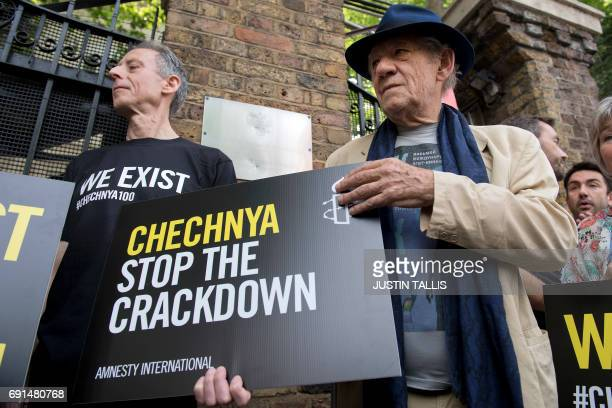 Activist Peter Tatchell and British actor Ian McKellen protest over an alleged crackdown on gay men in Chechnya outside the Russian Embassy in London...