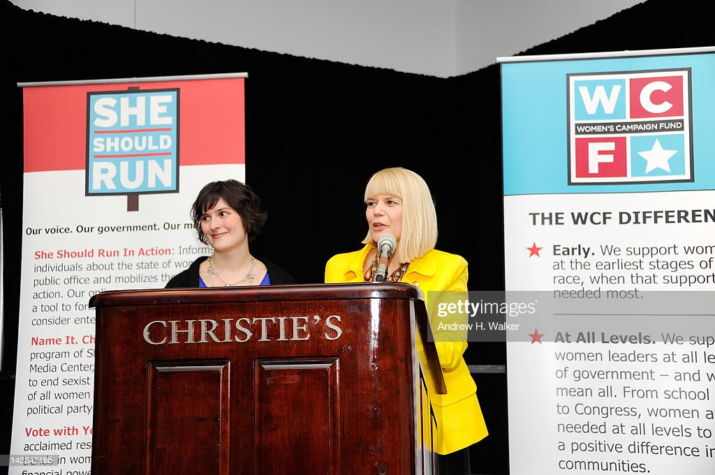 Activist Sandra Fluke and Women's Campaign Fund President and CEO Sam Bennett speak at Christie's on April 2, 2012 in New York City.