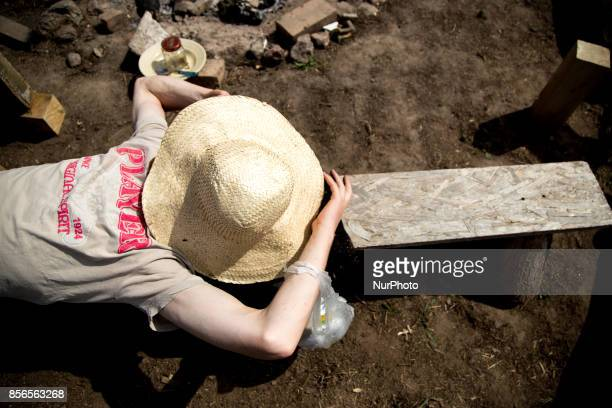 Activist slepps after dinner quotCamp for Forestquot Pogorzelce near Bialowieza on August 15 2017
