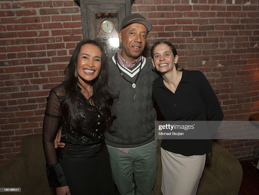 Activist Somaly Mam, Russell Simmons and exceutive director of the Somaly Mam Foundation Gina Reiss-Wilchins attend Songs Of Hope Event Benefiting The Somaly Mam Foundation on October 17, 2013 in Hollywood, California.