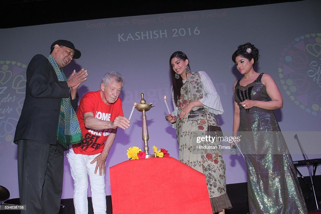 LGBT activist Sridhar, Hollywood actor Ian McKellen and Bollywood actor Sonam Kapoor with RJ Malishka during the opening ceremony of the 7th Kashish Mumbai International Queer Film Festival, at Liberty Cinema, Marine Lines, on May 25, 2016 in Mumbai, India. During a ceremony, McKellen said, 'I just want to say how happy I am to be at Kashish; it's my first visit to Mumbai. I made many friends already and I hope this evening to make many more. I've come to Mumbai to celebrate Shakespeare and to celebrate the connections between the United Kingdom and your country. And I've also come to support those who want to get rid of section 377 (which criminalizes homosexuality).'
