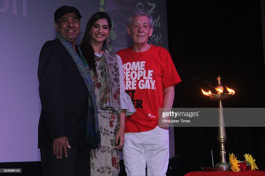 LGBT activist Sridhar with Hollywood actor Ian McKellen and Bollywood actor Sonam Kapoor during the opening ceremony of the 7th Kashish Mumbai International Queer Film Festival, at Liberty Cinema, Marine Lines, on May 25, 2016 in Mumbai, India. During a ceremony, McKellen said, 'I just want to say how happy I am to be at Kashish; it's my first visit to Mumbai. I made many friends already and I hope this evening to make many more. I've come to Mumbai to celebrate Shakespeare and to celebrate the connections between the United Kingdom and your country. And I've also come to support those who want to get rid of section 377 (which criminalizes homosexuality).'