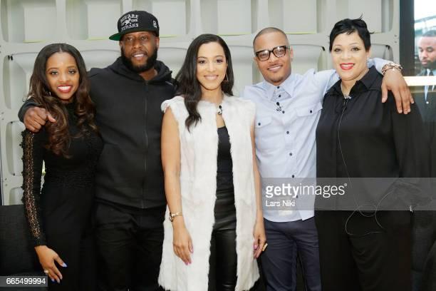 Activist Tamika Mallory Hip Hop Artist Talib Kweli Commentator Angela Rye Musician TI and Police Officer Nakia Jones attend the BET Music Presents Us...