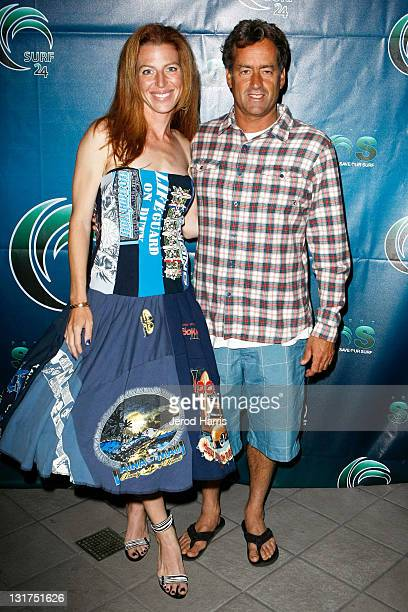 Activist Tanna Frederick and professional surfer Tom Curren arrive at Zimzala Restaurant in the Shorebreak Hotel on June 18 2010 in Huntington Beach...