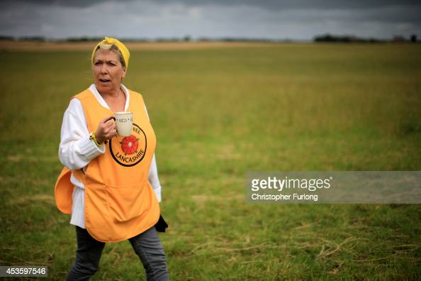 Activist Tina Louise Rothery of protest group Frack Free Lancashires waits for the arrival of supporters at an antifracking camp near the site of a...