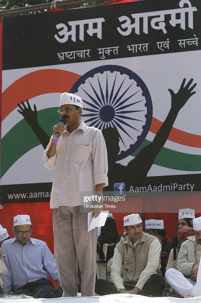 Activist turned politician Arvind Kejriwal gestures while addressing a rally after launching the 'Aam Aadmi Party' on November 26, 2012 in New Delhi, India.