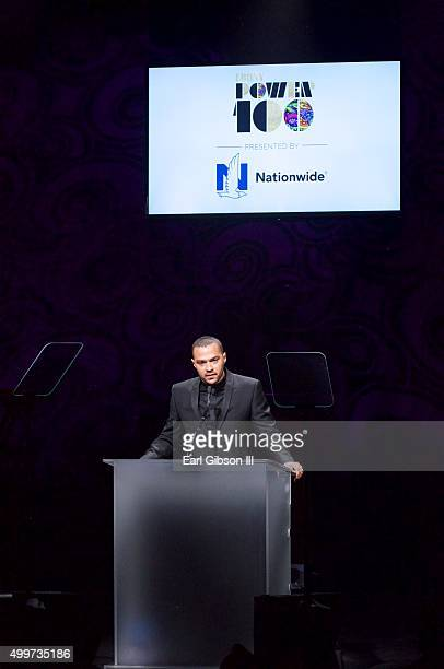 Activist/Actor Jesse Williams speaks at Ebony Magazine's Power 100 Gala at The Beverly Hilton Hotel on December 2 2015 in Beverly Hills California