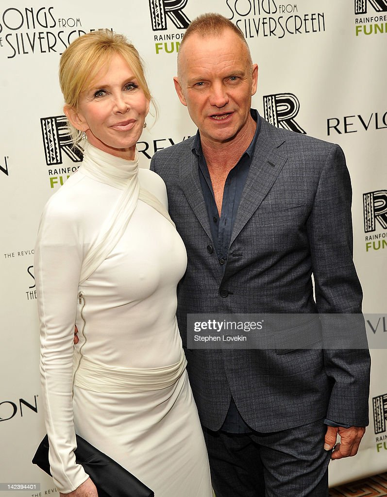 Activist/actress <a gi-track='captionPersonalityLinkClicked' href=/galleries/search?phrase=Trudie+Styler&family=editorial&specificpeople=203268 ng-click='$event.stopPropagation()'>Trudie Styler</a> and singer/musician Sting attend the after party for the 2012 Concert for the Rainforest Fund at The Pierre Hotel on April 3, 2012 in New York City.