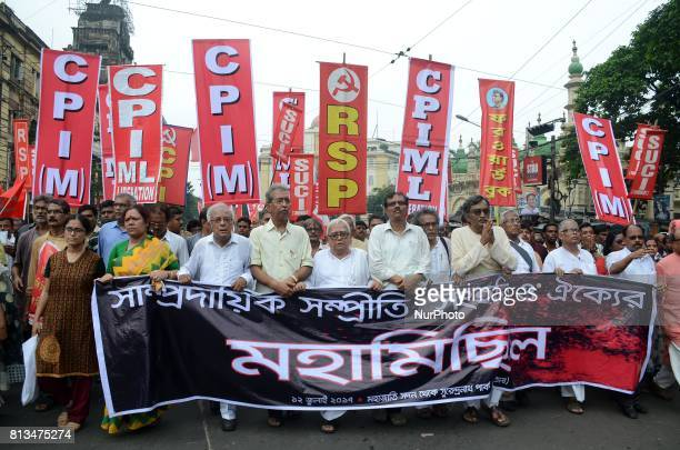 Activists and leaders of left front parties participate in a rally in Kolkata India on Wednesday 12th July 2017 Protesting against rising communal...