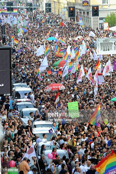 Activists and supporters of gay rights march down Corso Buenos Aires during the annual Gay Pride parade on June 29 2013 in Milan Italy The parade is...