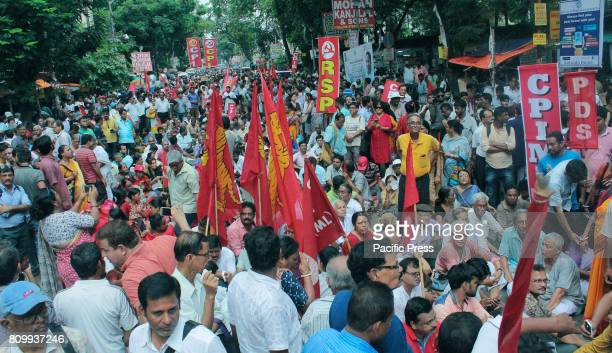 Activists and supporters of the Communist Party of India and other left parties protested against the Government of West Bengal on declaration of ban...