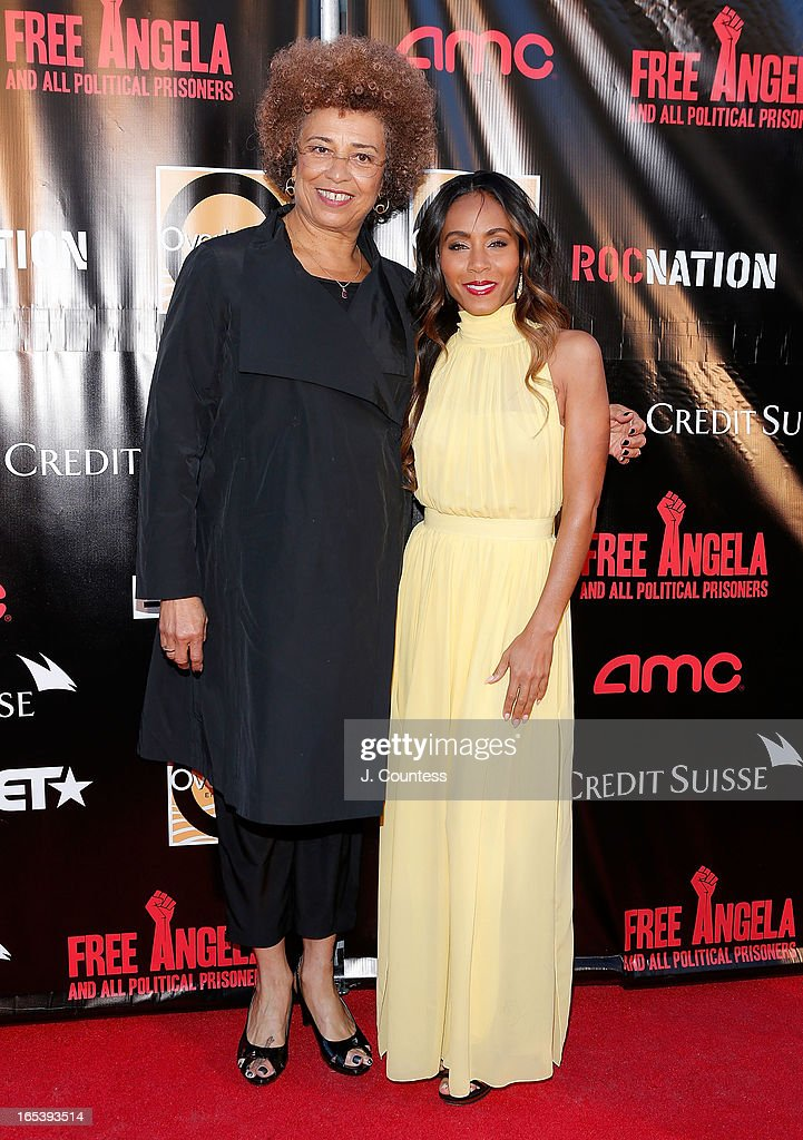 Activists Angela Davis and executive producer Jada Pinkett Smith attend 'Free Angela and All Political Prisoners' New York Premiere at The Schomburg Center for Research in Black Culture on April 3, 2013 in New York City.