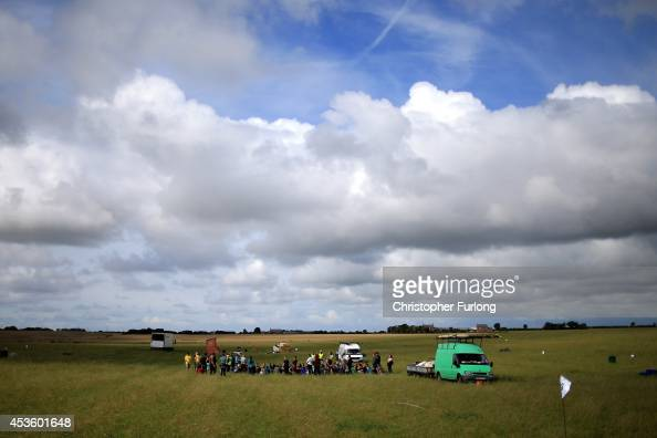 Activists arrive at an antifracking camp near the site of a proposed drilling rig at Preston New Road Site near Westby on August 14 2014 in Blackpool...