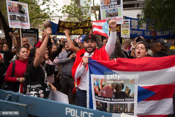 Activists calling for an independent Puerto Rico demonstrate in Dag Hammarskjold Plaza across from the United Nations on September 19 2017 in New...