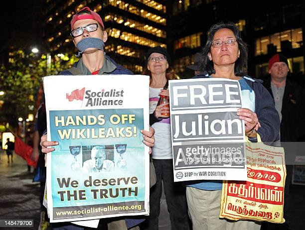 Activists demand the release of WikiLeaks founder Julian Assange during a rally in Sydney on May 31 2012 after Britain's Supreme Court ruled that the...