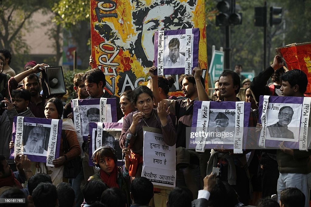 Activists demonstrate as they boycott India's Republic Day celebrations following the gang rape and murder of a student in December last year on January 26, 2013 in New Delhi, India. India's president on the eve of India's Republic Day celebrations said it was time for the country to 'reset its moral compass' in the wake of the savage gang rape and murder of a student last month that ignited nationwide protests.