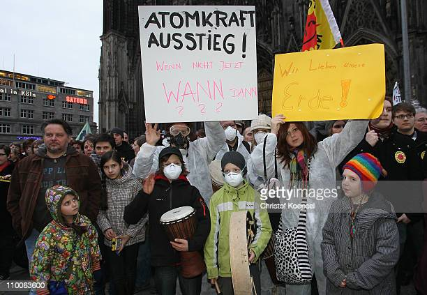 Activists demonstrate in the wake of the nuclear disaster at the Fukushima facility in Japan during an antinuclear demonstration at the Cologne...
