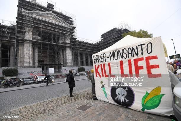 Activists from EZLN Ensemble Zoologique de Liberation de la Nature stage a demonstration against the weedkiller glyphosate and US agrochimical...