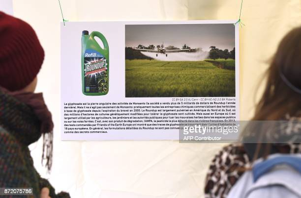 Activists from EZLN Ensemble Zoologique de Liberation de la Nature take part in a demonstration against the weedkiller glyphosate and US agrochimical...