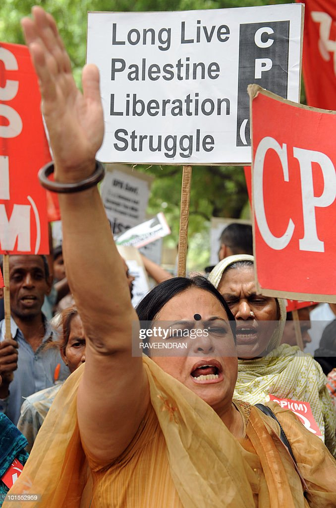 Activists from India's Lefties Parties shout anti-Israeli slogans during protest march to the Israeli embassy in New Delhi on June 2, 2010. Hundreds of protesters condemned an Israeli commando attack on a flotilla of aid ships bound for the Gaza Strip.