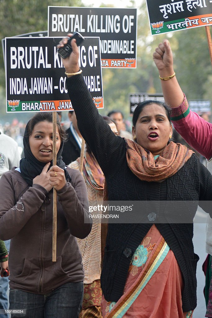 Activists from India's main opposition Bharatiya Janata Party (BJP) shout anti-Pakistan slogansduring a protest march to the Pakistani embassy, against the killing of Indian soldiers Lance Naik Hemraj and Sudhakar Singh in the disputed Kashmir region, in New Delhi on January 9, 2012. India summoned Pakistan's envoy in New Delhi to protest the killing of two soldiers in a border clash, but warned against any escalation, after apparent tit-for-tat skirmishes that have led to deaths on both sides. Two Indian soldiers died after a firefight erupted in disputed Kashmir on Tuesday as a patrol moving in fog discovered Pakistani troops about 500 metres (yards) inside Indian territory, according to the Indian army.