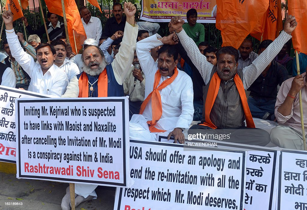 Activists from Rashtrawadi Shiv Sena shout anti-US slogans during a protest against the US government not issuing a visa for India's Gujarat state chief minister Narendra Modi, who was scheduled to deliver an address during the Wharton India Economic Forum to be held in Philadelphia, in New Delhi on March 6, 2013. Modi, who was denied the visa, will deliver the keynote address through video conference, the organisers announced.