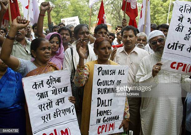 Activists from the Communist Party of IndiaMarxist party shout anti government and antiBharatiya Janata Party slogans during a demonstration in New...