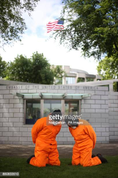 Activists from the Irish Anti War Movement take part a protest outside the American Embassy in Dublin calling on the closure of Guantanamo Bay...