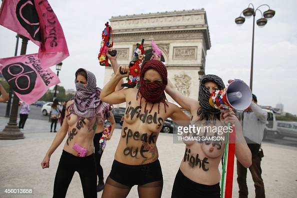 Activists from the women's rights organization Femen ...