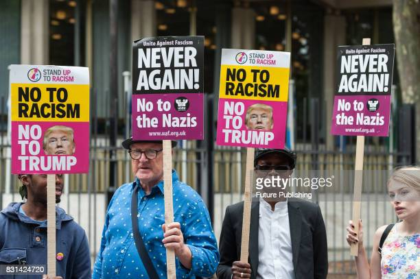 Activists from Unite Against Fascism stage a solidarity vigil/demonstration with Charlottesville anti fascists outside the US Embassy in response to...