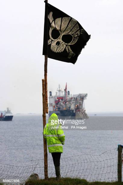 Activists gather at Glengad Beach in CoMayo as the pipe laying vessel the Solitaire makes its way into Broadhaven Bay A massive security operation...