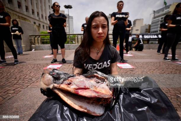 Activists have held bodies of fish pigs and birds among others in Sao Paulo Brazil on December 8 2017 during a happening to defend animal rights...