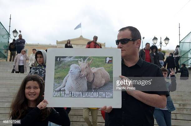 Activists hold pickets that talk against the slaughter of animals and especially lambsAnimal Activists of Greece organised a demonstration in...