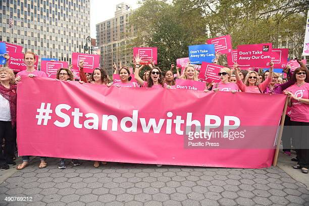 Activists hold Planned Parenthood banner in Foley Square Activists and directors of Planned Parenthood NYC gathered in Foley Square along NYC first...