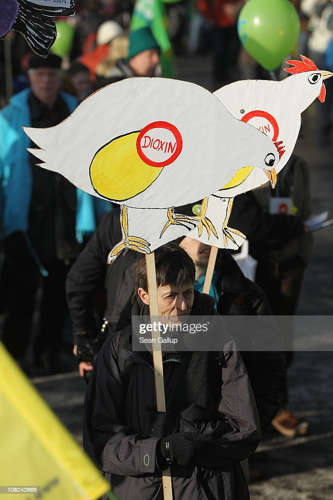 Activists hold signs showing chickens dropping dioxin-tainted eggs during a demonstration against the agricultural industry on January 22, 2011 in Berlin, Germany. Tens of thousands of demonstrators, including farmers and animal-rights activists, protested against industrial farming techniques, the use of genetically-modified seeds and animals, mass animal husbandry and corporate interest lobbying. The demonstration comes in the wake of a nation-wide dioxin scandal that led to the quarantine of 6,000 farms.