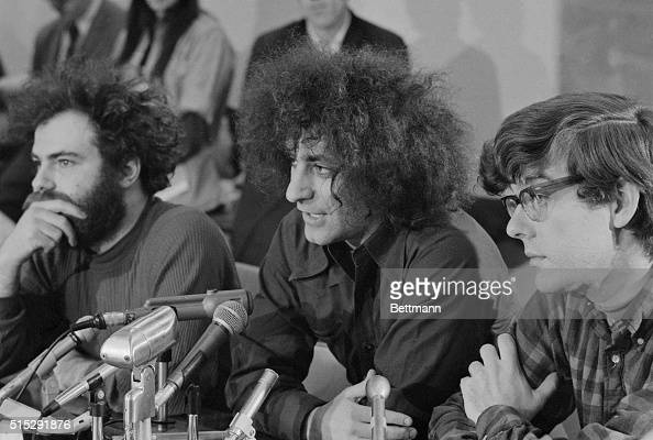 Activists Jerry Rubin Abbie Hoffman and Rennie Davis speak with the press during a recess in their trial The three are facing charges for conspiring...