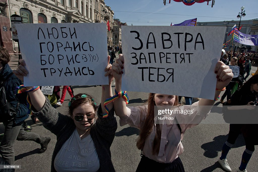 LGBT activists march and shout slogans during the May Day demonstration in St.Petersburg, Russia, 01 May 2016