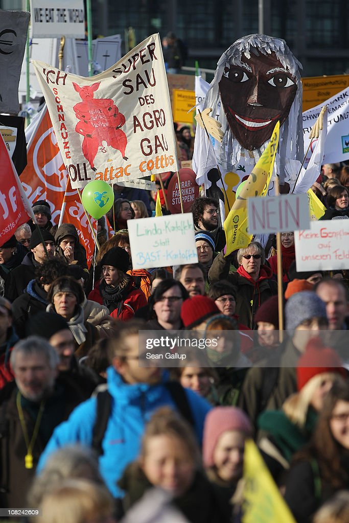 Activists march in a demonstration against the agricultural industry on January 22, 2011 in Berlin, Germany. Tens of thousands of demonstrators, including farmers and animal-rights activists, protested against industrial farming techniques, the use of genetically-modified seeds and animals, mass animal husbandry and corporate interest lobbying. The demonstration comes in the wake of a nation-wide dioxin scandal that led to the quarantine of 6,000 farms.