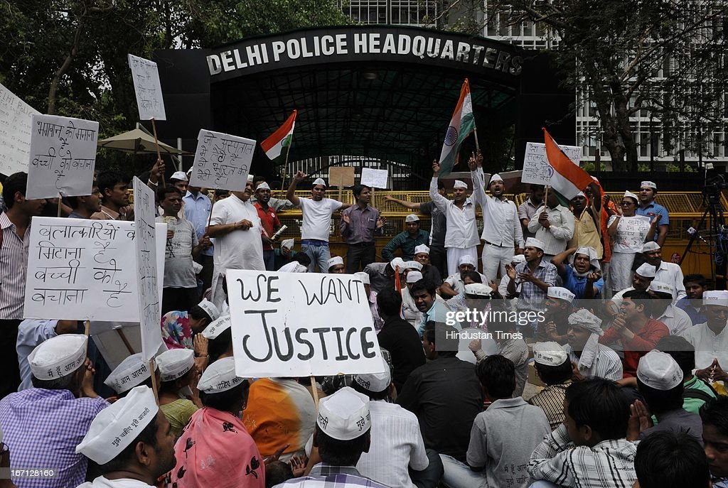 Activists of AAP party protesting outside Delhi Police Head Quarter demanding resignation of police commissioner Neeraj Kumar after a brutal rape of 5 year old girl and alleged police insensitivity in dealing with it on April 21, 2013 in New Delhi, India. A five year girl went missing on April 15 and was found on April 17 in same building where she lives with her parents. She was found in serious condition after being brutally raped and tortured with slashed neck and bite marks on her body. The man who lives in that room was arrested in Bihar state on April 20.