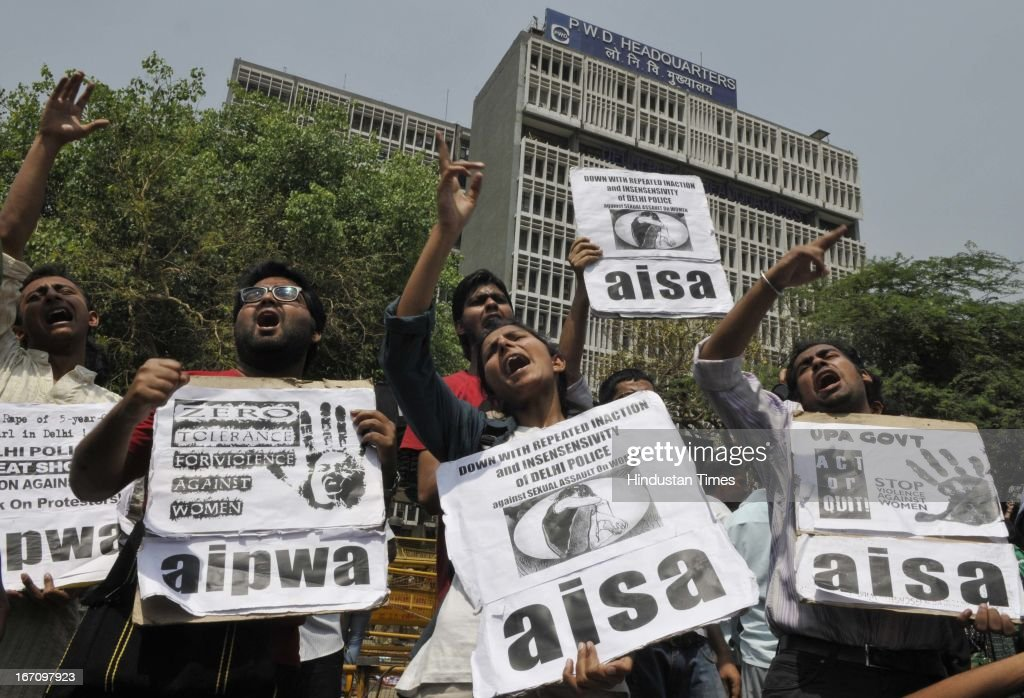 Activists of AISA protesting outside Delhi Police Head Quarter demanding resignation of police commissioner Neeraj Kumar after a brutal rape of 5 year old girl and alleged police insensitivity in dealing with it on April 20, 2013 in New Delhi, India. A five year girl went missing on April 15 and was found on April 17 in same building where she lives with her parents. She was found in serious condition after being brutally raped and tortured with slashed neck and bite marks on her body. The man who lives in that room was arrested today in Bihar state.
