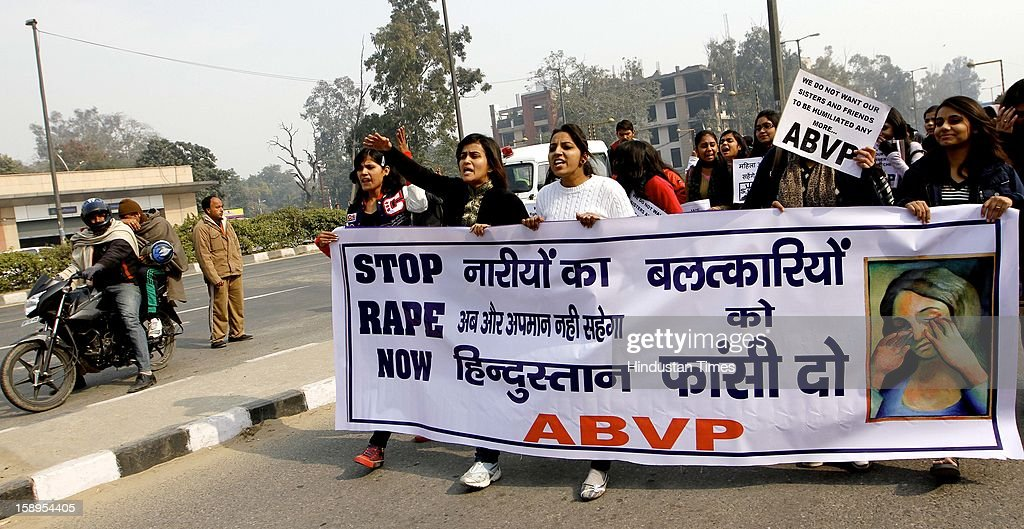 Activists of Akhil Bhartiya Vidyarthi Parishad (ABVP) demonstrating for justice to the 23 yr old girl who succmbed to the injuries after gangrape, at outside Vishwavidyalaya metro station on January 4, 2013 in New Delhi, India.