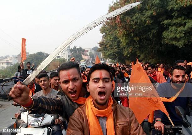 Activists of Bajrang Dal during a bike rally to mark Shaurya Diwas celebrations on December 6 2016 in Jammu India On December 6 Kar Sevaks demolished...