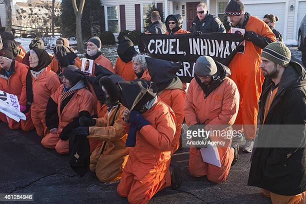 Activists of Codepink and Witness Against Torture stage demonstrations in front of the CIA director John Brennan's house before protesting at CIA...