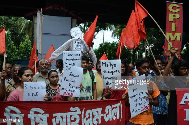 Activists of Communist Party of India protest against killing of five farmers of Mandsaur police firing incident at Madhya Pradesh government office...