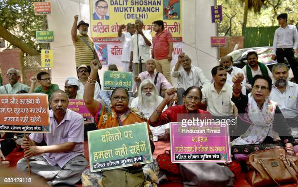 Activists of Dalit organizations sitting on protest against the alleged atrocities by Thakur community against the Dalits in Saharanpur at Jantar...